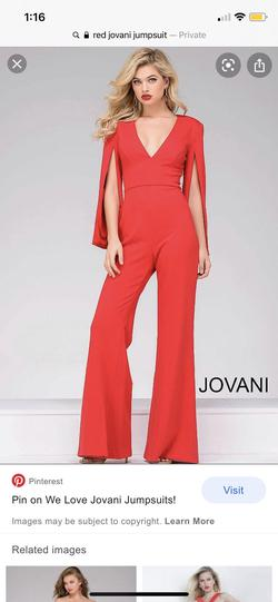 Jovani Red Size 0 Medium Height Jumpsuit Dress on Queenly