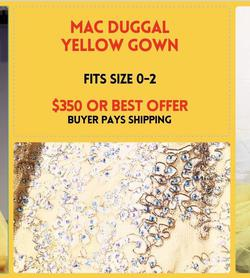 Mac Duggal Yellow Size 2 Short Height Mermaid Dress on Queenly