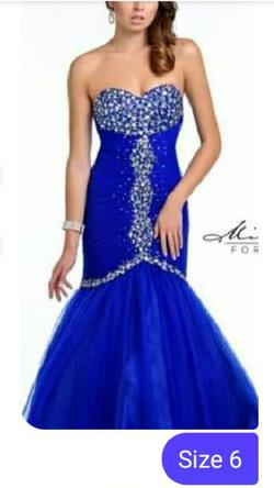 Milano Blue Size 6 Tulle Lace Mermaid Dress on Queenly