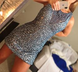 Scala Blue Size 8 Sorority Formal Fully-beaded Sequin Cocktail Dress on Queenly