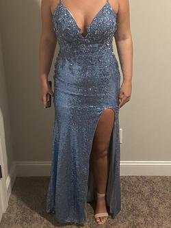 Sherri Hill Blue Size 8 Side slit Dress on Queenly
