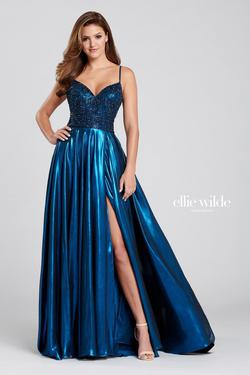 Style EW120107 Ellie Wilde Blue Size 6 Pageant Tall Height Side slit Dress on Queenly