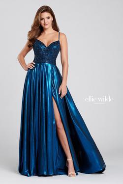 Style EW120107 Ellie Wilde Blue Size 0 Silk Side slit Dress on Queenly