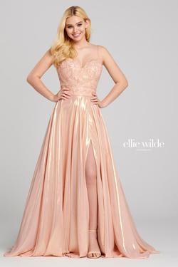 Style EW120107 Ellie Wilde Pink Size 8 Silk Side slit Dress on Queenly