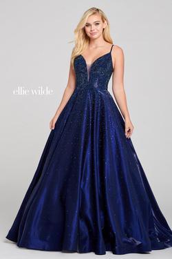 Style EW121005 Ellie Wilde Blue Size 8 Silk Navy Ball gown on Queenly