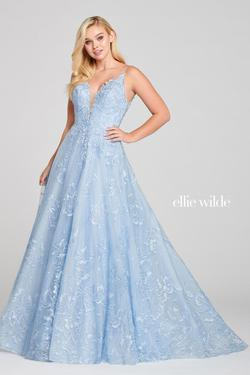 Style EW121023 Ellie Wilde Blue Size 0 Embroidery Ball gown on Queenly