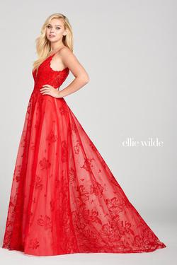 Style EW121023 Ellie Wilde Red Size 8 Embroidery Ball gown on Queenly