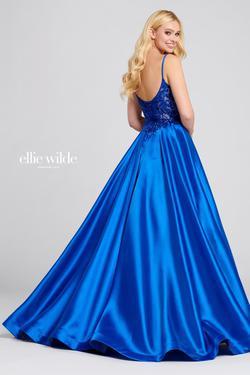 Style EW120137 Ellie Wilde Blue Size 0 Silk Ball gown on Queenly