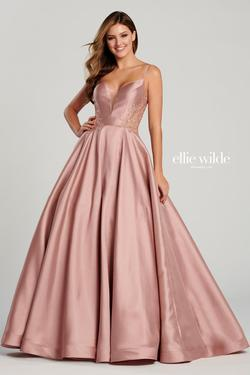 Style EW120137 Ellie Wilde Pink Size 22 Prom Rose Gold Plus Size Ball gown on Queenly