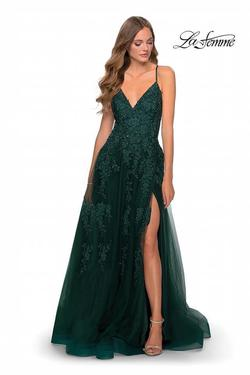 La Femme Green Size 0 Side slit Dress on Queenly