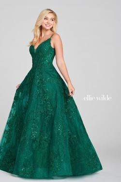 Style EW121010 Ellie Wilde Green Size 4 Tall Height Sequin Ball gown on Queenly