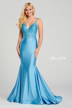Style EW120117 Ellie Wilde Blue Size 4 Prom Silk Mermaid Dress on Queenly