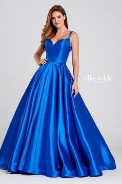 Style EW120023 Ellie Wilde Blue Size 22 Silk Prom Plus Size Ball gown on Queenly
