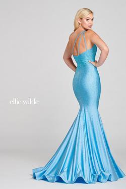 Style EW121041 Ellie Wilde Blue Size 4 One Shoulder Prom Mermaid Dress on Queenly