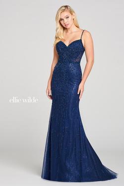 Style EW121006 Ellie Wilde Blue Size 8 Navy Mermaid Dress on Queenly