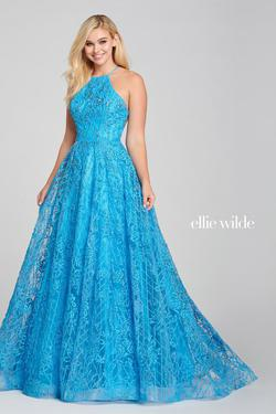 Style EW121042 Ellie Wilde Blue Size 0 Ball gown on Queenly