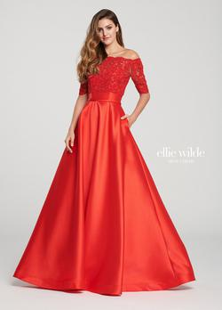 Style EW119092 Ellie Wilde Red Size 00 Sleeves Ball gown on Queenly