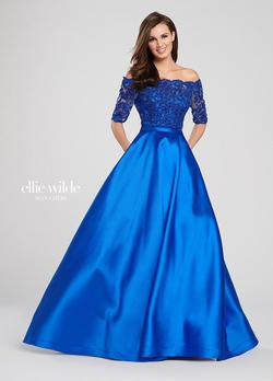 Style EW119092 Ellie Wilde Blue Size 16 Plus Size Ball gown on Queenly