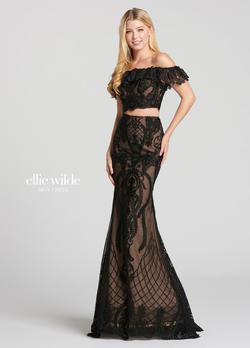 Style EW118156 Ellie Wilde Black Size 0 Lace Mermaid Dress on Queenly