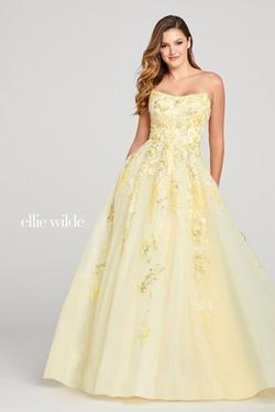 Style EW121027 Ellie Wilde Yellow Size 4 Embroidery Ball gown on Queenly