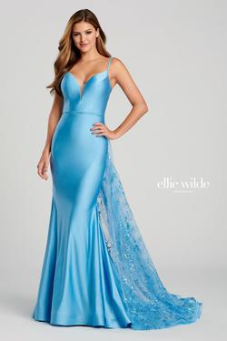 Style EW120009 Ellie Wilde Blue Size 4 Prom Silk Mermaid Dress on Queenly