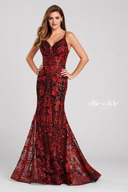 Style EW120024 Ellie Wilde Red Size 22 Prom Plus Size Mermaid Dress on Queenly