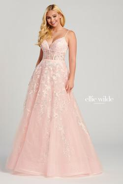 Style EW120036 Ellie Wilde Pink Size 10 Lace Tall Height Ball gown on Queenly