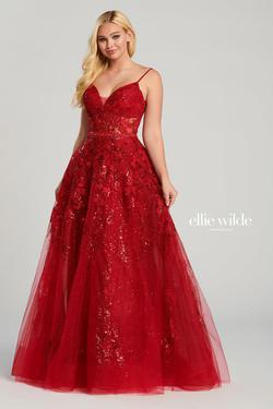 Style EW120036 Ellie Wilde Red Size 14 Plus Size Ball gown on Queenly