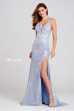 Style EW120050 Ellie Wilde Blue Size 10 Plunge Side slit Dress on Queenly