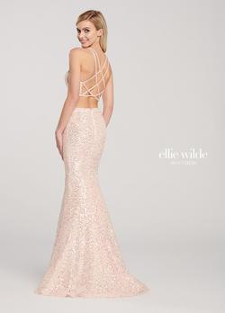 Style EW119058 Ellie Wilde Pink Size 0 Prom Halter Mermaid Dress on Queenly