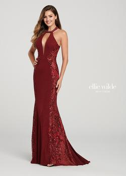 Style EW119110 Ellie Wilde Red Size 00 Jewelled Mermaid Dress on Queenly