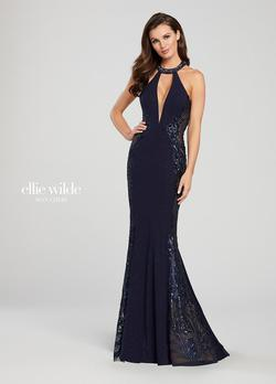 Style EW119110 Ellie Wilde Blue Size 00 Navy Mermaid Dress on Queenly