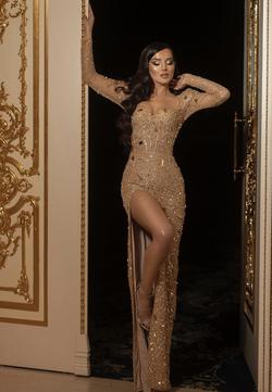 Ramaa Haute Couture  Gold Size 4 Tall Height Custom Side slit Dress on Queenly