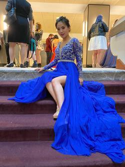 Rachel Allan Blue Size 0 Side Slit Sweetheart Train Dress on Queenly