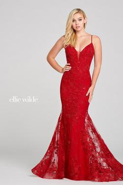 Style EW121033 Ellie Wilde Red Size 00 Embroidery Mermaid Dress on Queenly