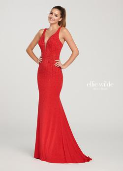 Style EW119019 Ellie Wilde Red Size 4 Straight Mermaid Dress on Queenly