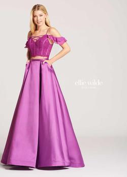 Style EW118008 Ellie Wilde Purple Size 6 Prom Pockets Mermaid Dress on Queenly