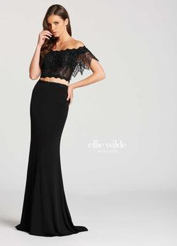 Style EW118017 Ellie Wilde Black Size 2 Tall Height Lace Mermaid Dress on Queenly