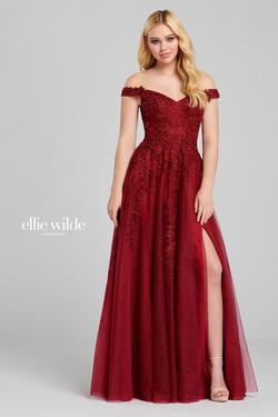 Style EW120114 Ellie Wilde Red Size 00 A-line Side slit Dress on Queenly