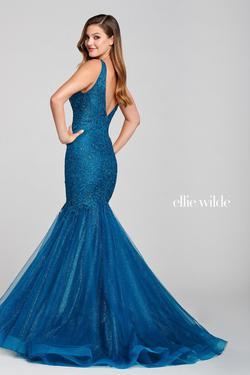 Style EW121044 Ellie Wilde Blue Size 8 Teal Mermaid Dress on Queenly