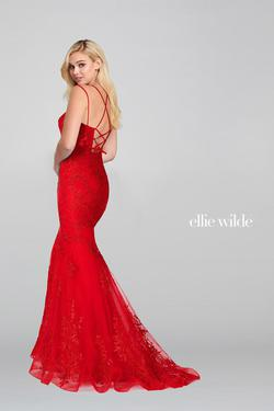 Style EW121055 Ellie Wilde Red Size 00 Mermaid Dress on Queenly