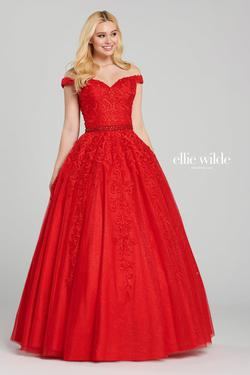Style EW120057 Ellie Wilde Red Size 24 Quinceanera Prom Ball gown on Queenly