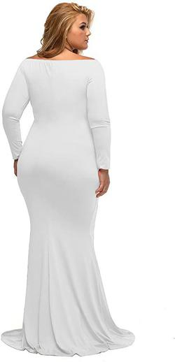 Style B01N5G3IEH Lalagen White Size 24 Sleeves Plus Size Mermaid Dress on Queenly