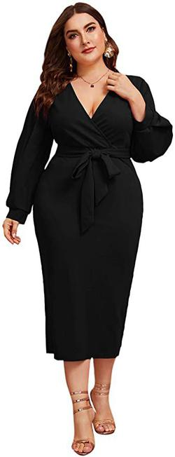 Style B07XK6R7M Verdusa Black Size 22 Interview Belt Polyester Cocktail Dress on Queenly