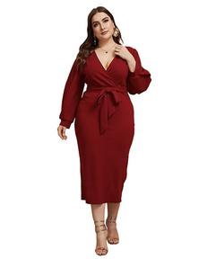 Style B07XK6R7M Verdusa Red Size 16 Plus Size Sleeves Cocktail Dress on Queenly