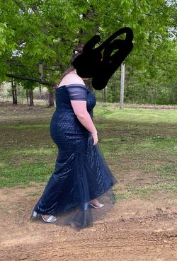 Galina Signature Blue Size 18 Plus Size Sequin Mermaid Dress on Queenly