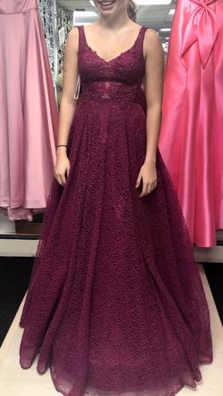 Jovani Pink Size 2 Sheer Ball gown on Queenly