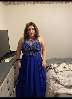 Blue Size 14 Train Dress on Queenly