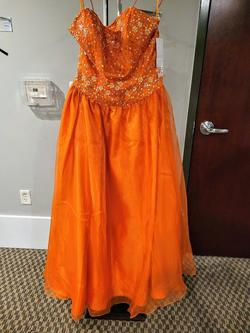 Style HB297 Sherri Hill Orange Size 16 Plus Size Ball gown on Queenly