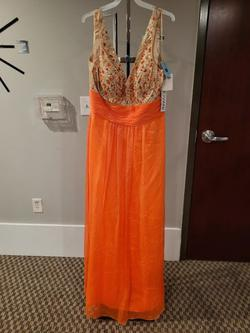 Style E40010 Jovani Orange Size 16 Prom Plus Size Straight Dress on Queenly